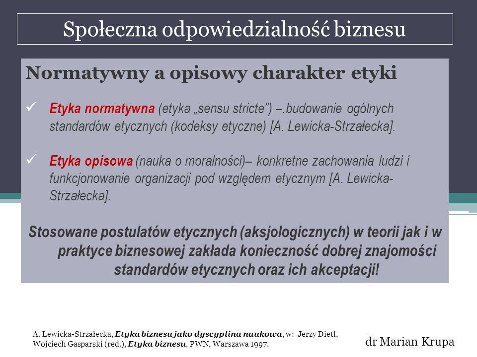 Społeczna odpowiedzialność biznesu dr Marian Krupa Normatywny a opisowy charakter etyki Etyka normatywna (etyka sensu stricte) –.budowanie ogólnych st
