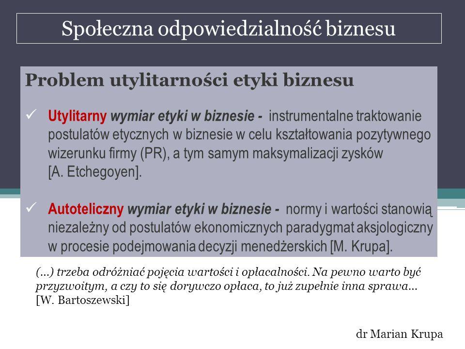 Społeczna odpowiedzialność biznesu dr Marian Krupa Problem utylitarności etyki biznesu Utylitarny wymiar etyki w biznesie - instrumentalne traktowanie