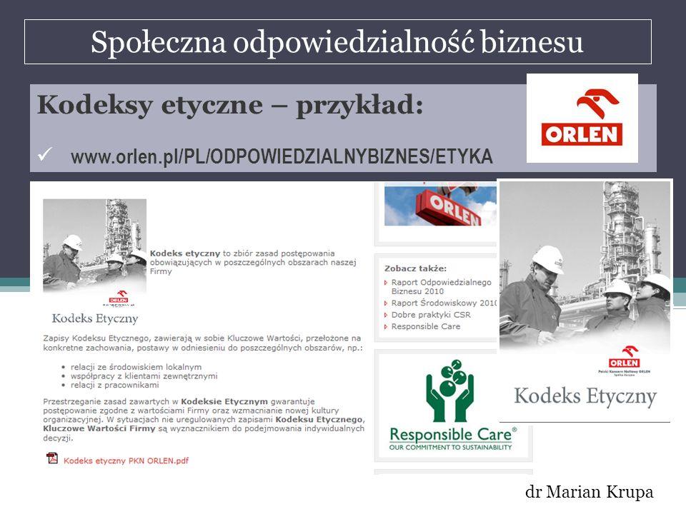 Społeczna odpowiedzialność biznesu dr Marian Krupa Kodeksy etyczne – przykład: www.orlen.pl/PL/ODPOWIEDZIALNYBIZNES/ETYKA