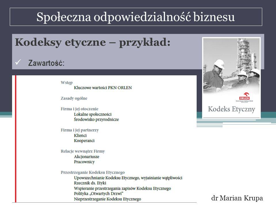 Społeczna odpowiedzialność biznesu dr Marian Krupa Kodeksy etyczne – przykład: Zawartość: