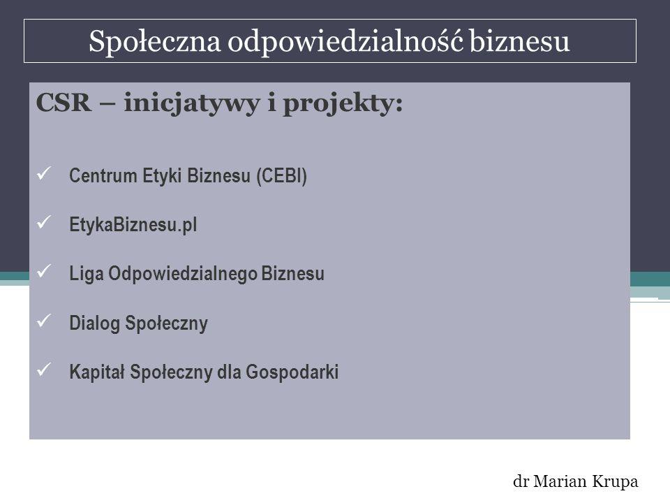 Społeczna odpowiedzialność biznesu dr Marian Krupa CSR – inicjatywy i projekty: Centrum Etyki Biznesu (CEBI) EtykaBiznesu.pl Liga Odpowiedzialnego Biz