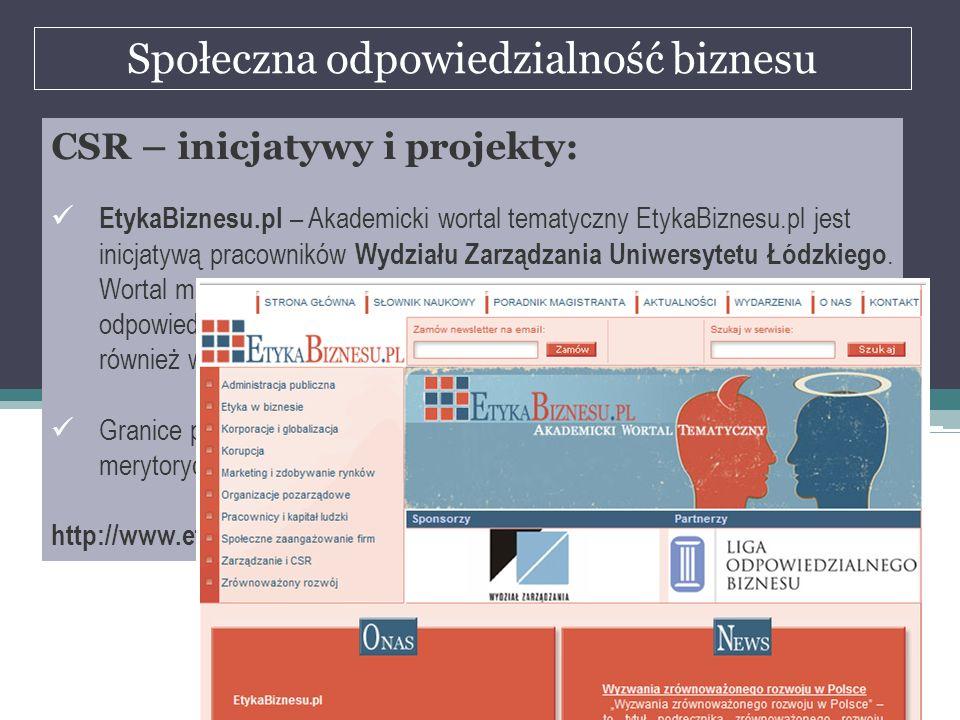 Społeczna odpowiedzialność biznesu dr Marian Krupa CSR – inicjatywy i projekty: EtykaBiznesu.pl – Akademicki wortal tematyczny EtykaBiznesu.pl jest in