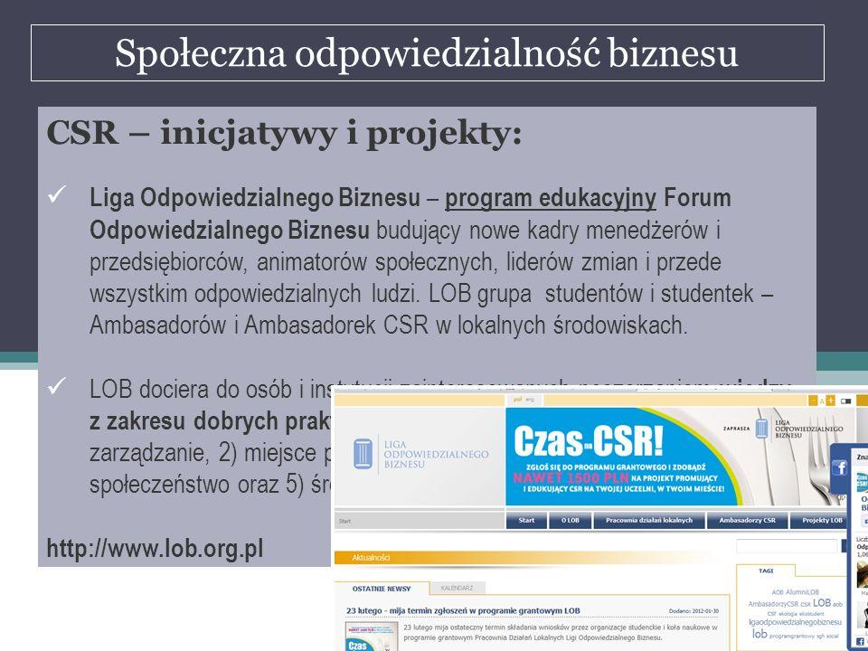 Społeczna odpowiedzialność biznesu dr Marian Krupa CSR – inicjatywy i projekty: Liga Odpowiedzialnego Biznesu – program edukacyjny Forum Odpowiedzialn