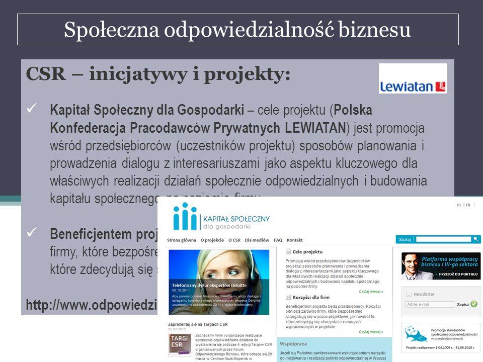 Społeczna odpowiedzialność biznesu dr Marian Krupa CSR – inicjatywy i projekty: Kapitał Społeczny dla Gospodarki – cele projektu ( Polska Konfederacja