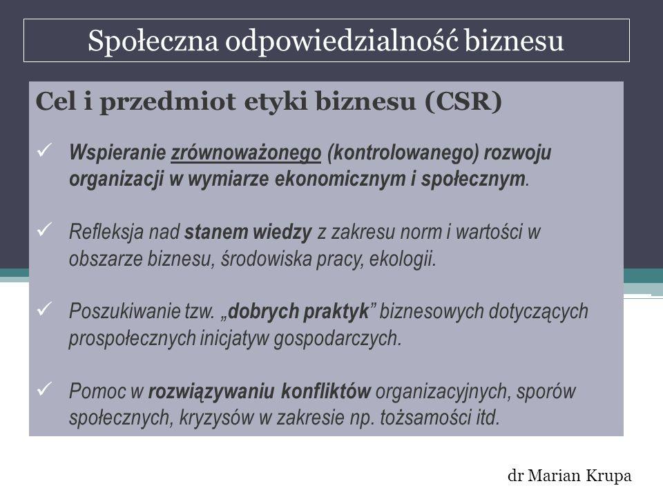 Społeczna odpowiedzialność biznesu dr Marian Krupa Cel i przedmiot etyki biznesu (CSR) Wspieranie zrównoważonego (kontrolowanego) rozwoju organizacji