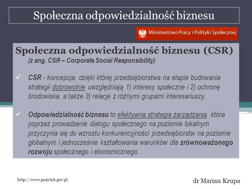 Społeczna odpowiedzialność biznesu dr Marian Krupa Społeczna odpowiedzialność biznesu (CSR) (z ang. CSR – Corporate Social Responsibility) CSR - konce