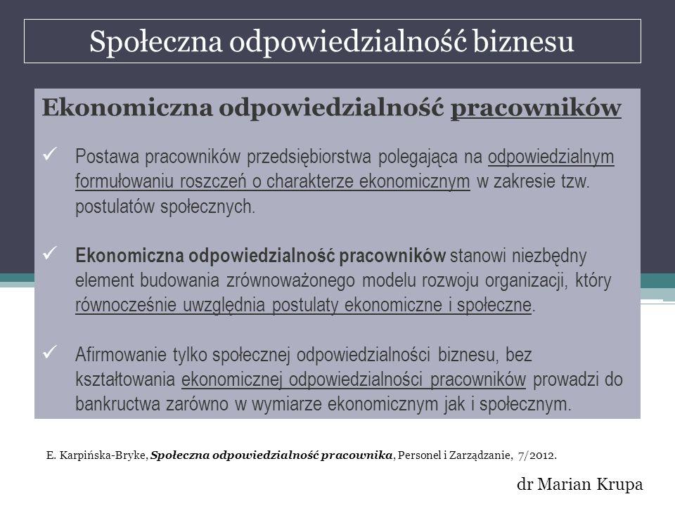 Społeczna odpowiedzialność biznesu dr Marian Krupa Ekonomiczna odpowiedzialność pracowników Postawa pracowników przedsiębiorstwa polegająca na odpowie