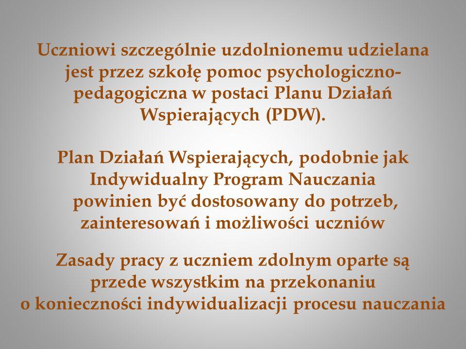 Uczniowi szczególnie uzdolnionemu udzielana jest przez szkołę pomoc psychologiczno- pedagogiczna w postaci Planu Działań Wspierających (PDW). Plan Dzi