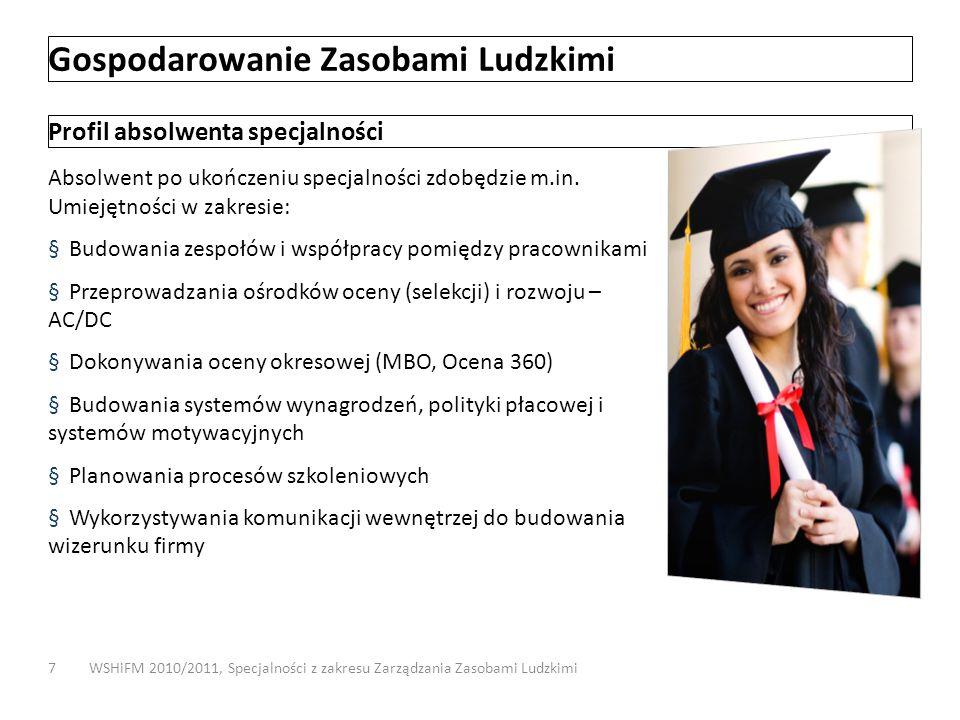 Gospodarowanie Zasobami Ludzkimi WSHiFM 2010/2011, Specjalności z zakresu Zarządzania Zasobami Ludzkimi7 Profil absolwenta specjalności Absolwent po u