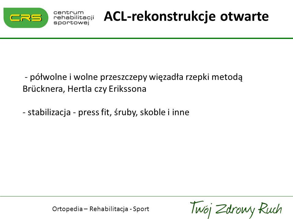 - półwolne i wolne przeszczepy więzadła rzepki metodą Brücknera, Hertla czy Erikssona - stabilizacja - press fit, śruby, skoble i inne ACL-rekonstrukc