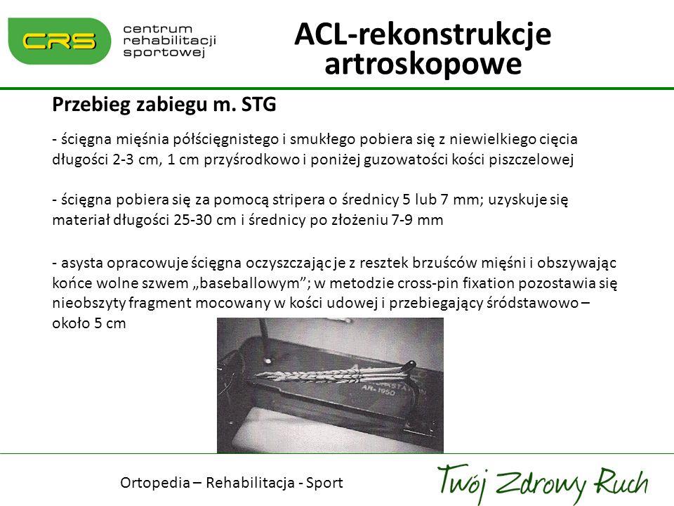 Przebieg zabiegu m. STG - ścięgna mięśnia półścięgnistego i smukłego pobiera się z niewielkiego cięcia długości 2-3 cm, 1 cm przyśrodkowo i poniżej gu