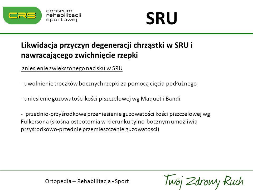 Likwidacja przyczyn degeneracji chrząstki w SRU i nawracającego zwichnięcie rzepki zniesienie zwiększonego nacisku w SRU - uwolnienie troczków bocznyc