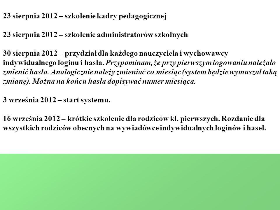 23 sierpnia 2012 – szkolenie kadry pedagogicznej 23 sierpnia 2012 – szkolenie administratorów szkolnych 30 sierpnia 2012 – przydział dla każdego nauczyciela i wychowawcy indywidualnego loginu i hasła.