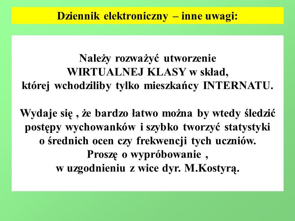 Dziennik elektroniczny – inne uwagi: Należy rozważyć utworzenie WIRTUALNEJ KLASY w skład, której wchodziliby tylko mieszkańcy INTERNATU.