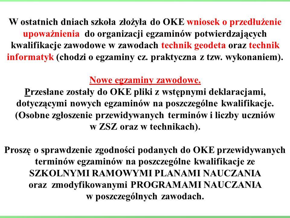 W ostatnich dniach szkoła złożyła do OKE wniosek o przedłużenie upoważnienia do organizacji egzaminów potwierdzających kwalifikacje zawodowe w zawodach technik geodeta oraz technik informatyk (chodzi o egzaminy cz.