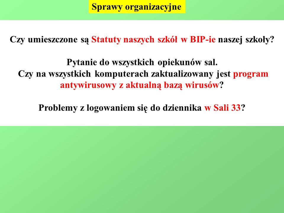 Sprawy organizacyjne Czy umieszczone są Statuty naszych szkół w BIP-ie naszej szkoły.