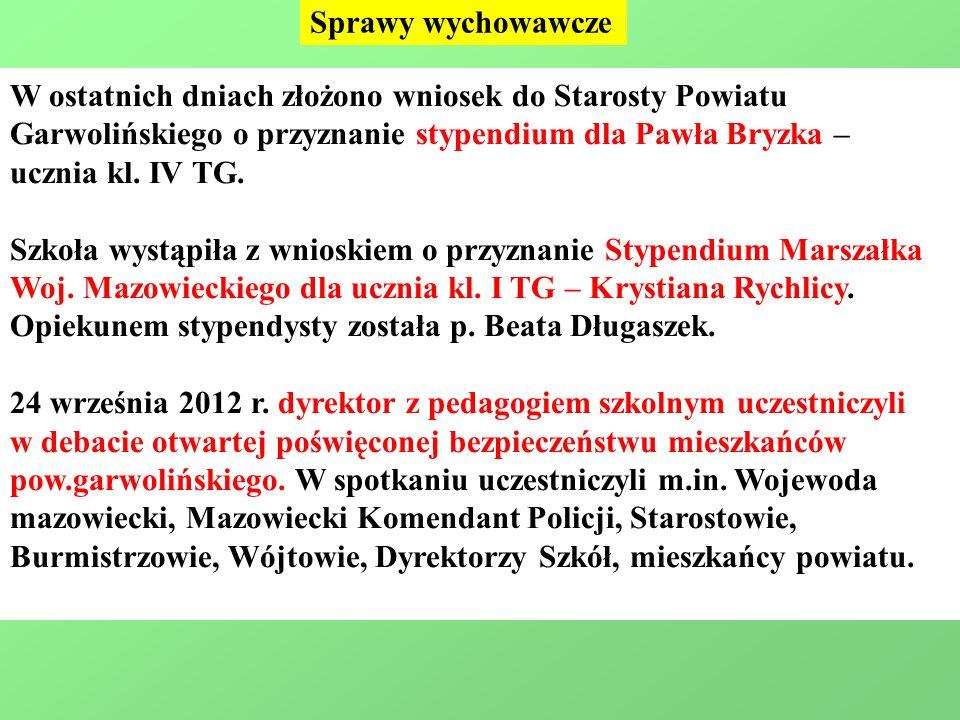 Sprawy wychowawcze W ostatnich dniach złożono wniosek do Starosty Powiatu Garwolińskiego o przyznanie stypendium dla Pawła Bryzka – ucznia kl.