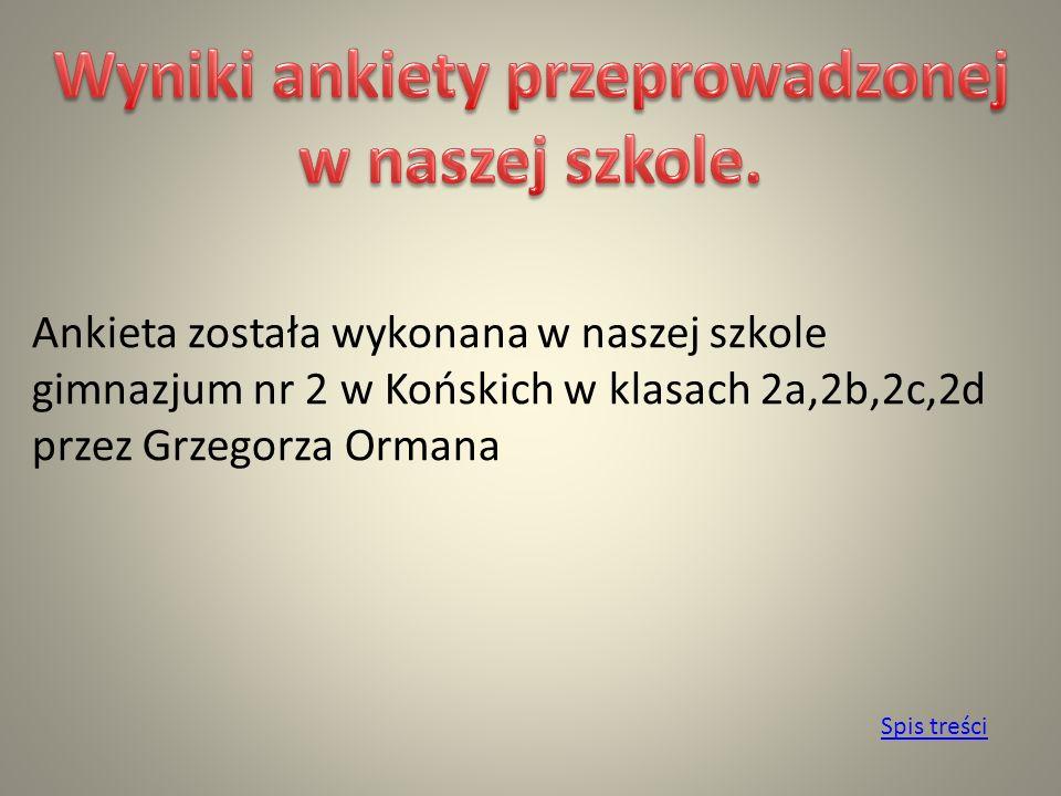 Ankieta została wykonana w naszej szkole gimnazjum nr 2 w Końskich w klasach 2a,2b,2c,2d przez Grzegorza Ormana Spis treści