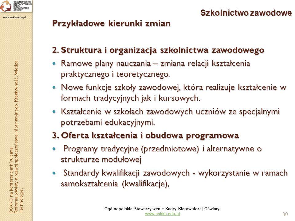 30 Szkolnictwo zawodowe Przykładowe kierunki zmian 2. Struktura i organizacja szkolnictwa zawodowego Ramowe plany nauczania – zmiana relacji kształcen