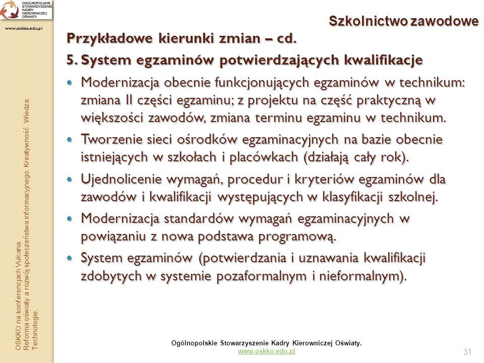 31 Szkolnictwo zawodowe Przykładowe kierunki zmian – cd. 5. System egzaminów potwierdzających kwalifikacje Modernizacja obecnie funkcjonujących egzami