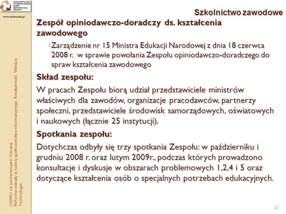 32 Szkolnictwo zawodowe Zespół opiniodawczo-doradczy ds. kształcenia zawodowego Zarządzenie nr 15 Ministra Edukacji Narodowej z dnia 18 czerwca 2008 r