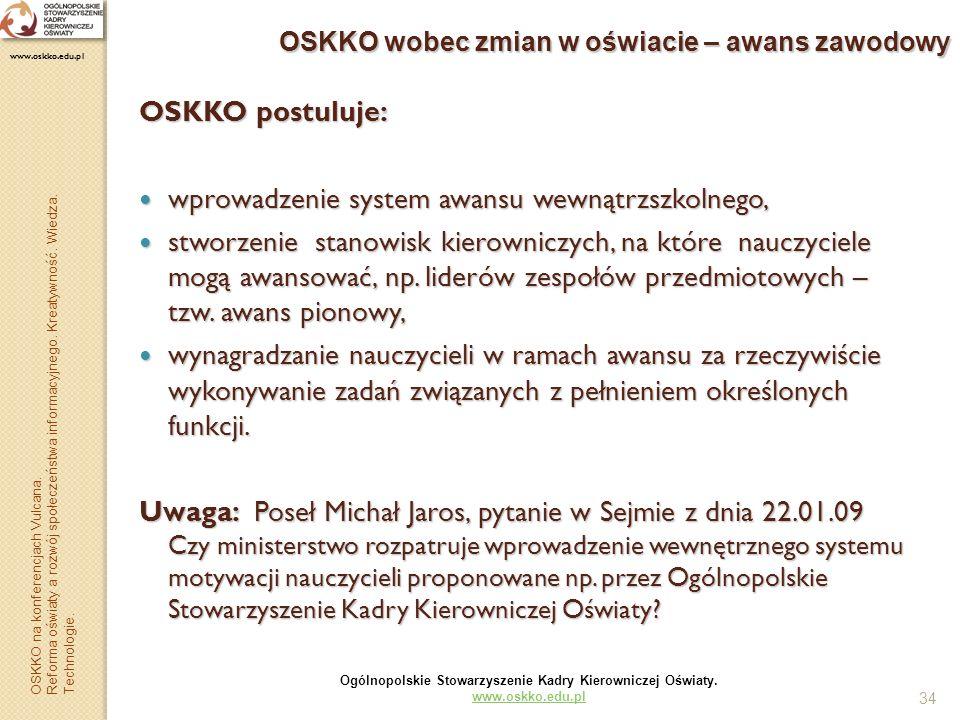 34 OSKKO wobec zmian w oświacie – awans zawodowy OSKKO postuluje: wprowadzenie system awansu wewnątrzszkolnego, wprowadzenie system awansu wewnątrzszk