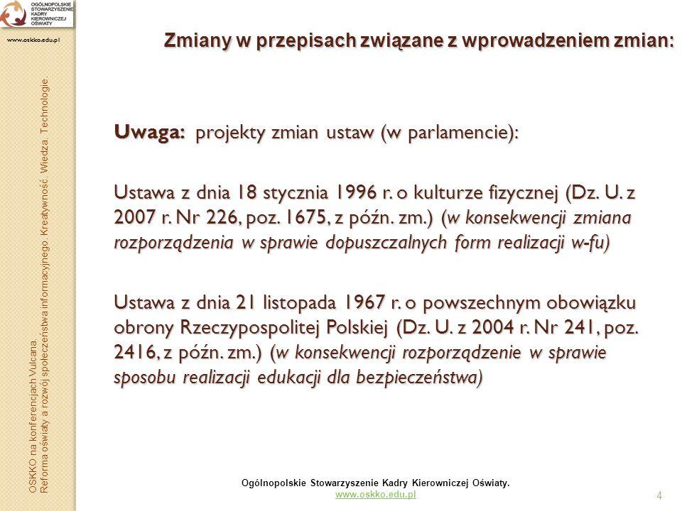 4 Zmiany w przepisach związane z wprowadzeniem zmian: Uwaga: projekty zmian ustaw (w parlamencie): Ustawa z dnia 18 stycznia 1996 r. o kulturze fizycz