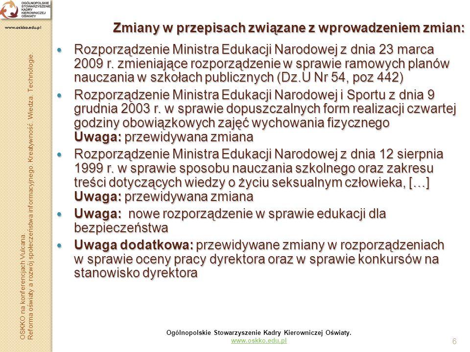 6 Zmiany w przepisach związane z wprowadzeniem zmian: Rozporządzenie Ministra Edukacji Narodowej z dnia 23 marca 2009 r. zmieniające rozporządzenie w