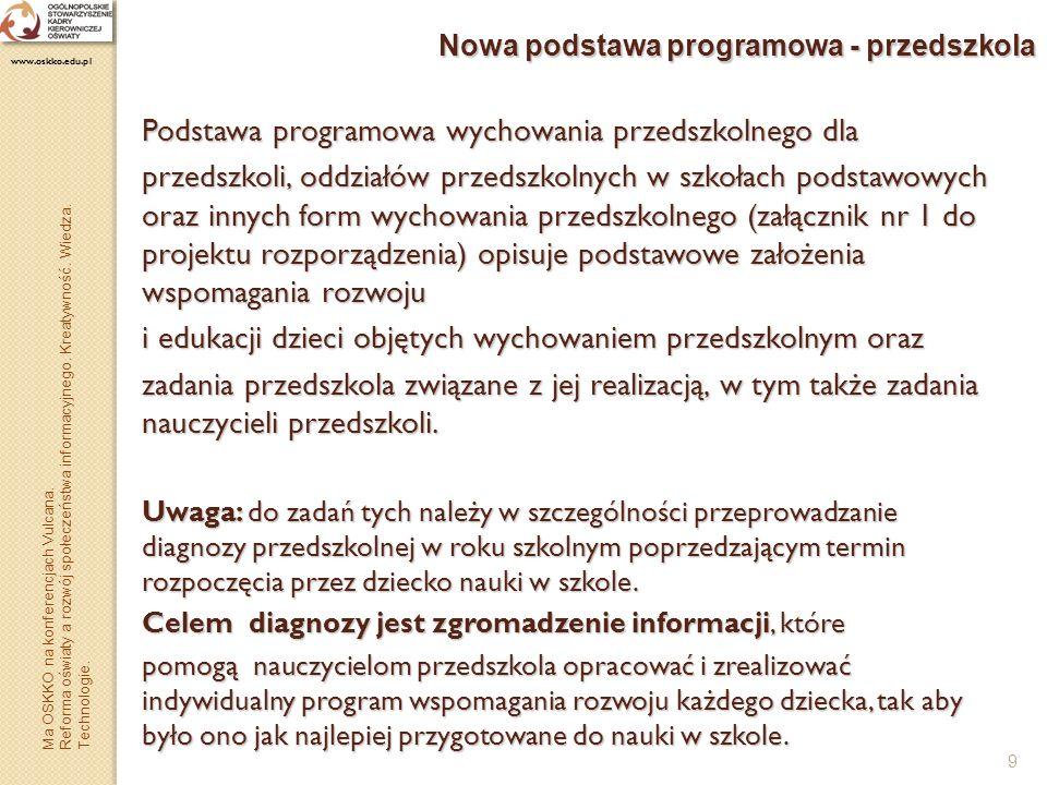 9 Nowa podstawa programowa - przedszkola Podstawa programowa wychowania przedszkolnego dla przedszkoli, oddziałów przedszkolnych w szkołach podstawowy