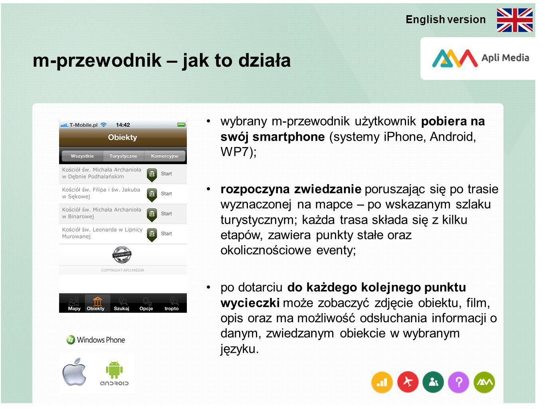 m-przewodnik – jak to działa wybrany m-przewodnik użytkownik pobiera na swój smartphone (systemy iPhone, Android, WP7); rozpoczyna zwiedzanie poruszaj