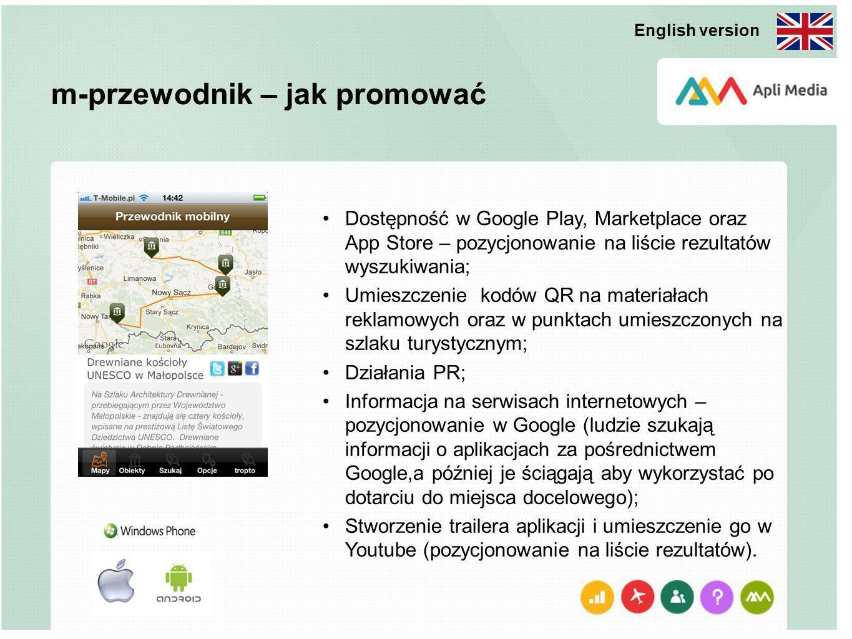 m-przewodnik – jak promować Dostępność w Google Play, Marketplace oraz App Store – pozycjonowanie na liście rezultatów wyszukiwania; Umieszczenie kodów QR na materiałach reklamowych oraz w punktach umieszczonych na szlaku turystycznym; Działania PR; Informacja na serwisach internetowych – pozycjonowanie w Google (ludzie szukają informacji o aplikacjach za pośrednictwem Google,a później je ściągają aby wykorzystać po dotarciu do miejsca docelowego); Stworzenie trailera aplikacji i umieszczenie go w Youtube (pozycjonowanie na liście rezultatów).