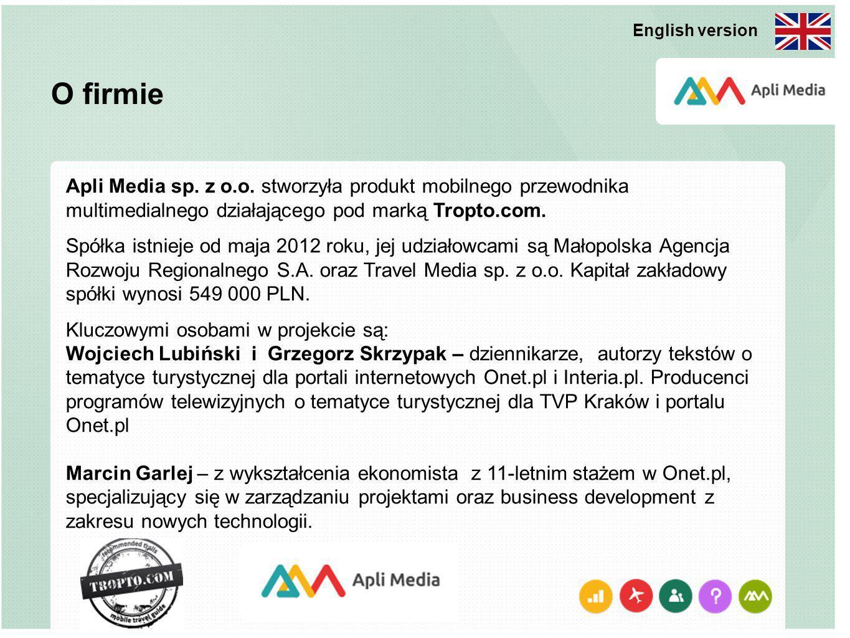 O firmie Apli Media sp. z o.o. stworzyła produkt mobilnego przewodnika multimedialnego działającego pod marką Tropto.com. Spółka istnieje od maja 2012
