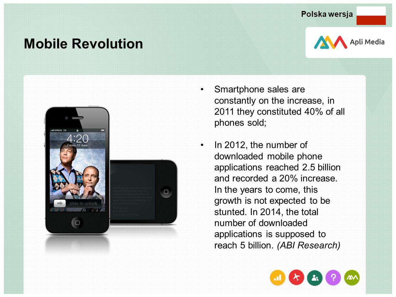 Mobile Revolution Smartphone sales are constantly on the increase, in 2011 they constituted 40% of all phones sold; In 2012, the number of downloaded mobile phone applications reached 2.5 billion and recorded a 20% increase.