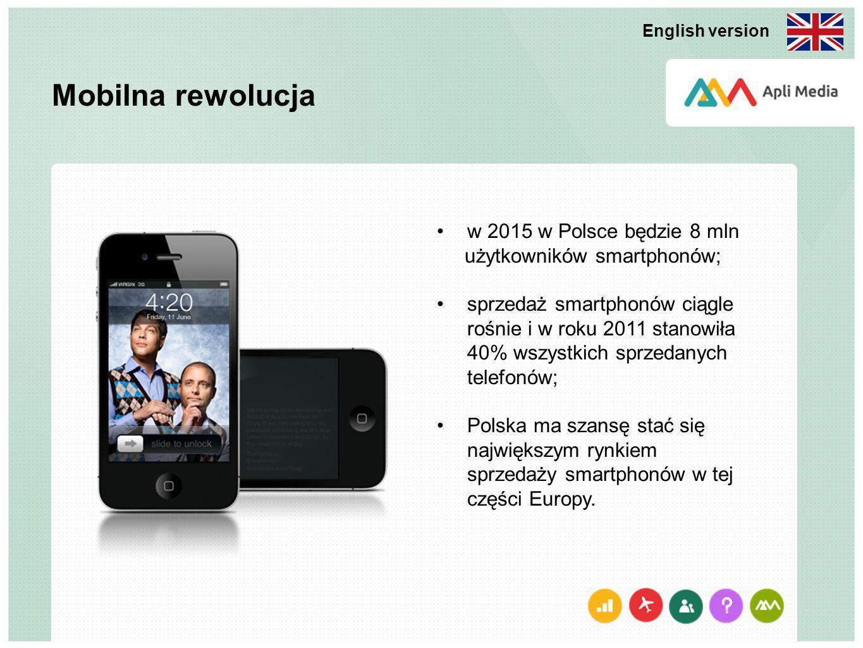 Mobilna rewolucja w 2015 w Polsce będzie 8 mln użytkowników smartphonów; sprzedaż smartphonów ciągle rośnie i w roku 2011 stanowiła 40% wszystkich sprzedanych telefonów; Polska ma szansę stać się największym rynkiem sprzedaży smartphonów w tej części Europy.