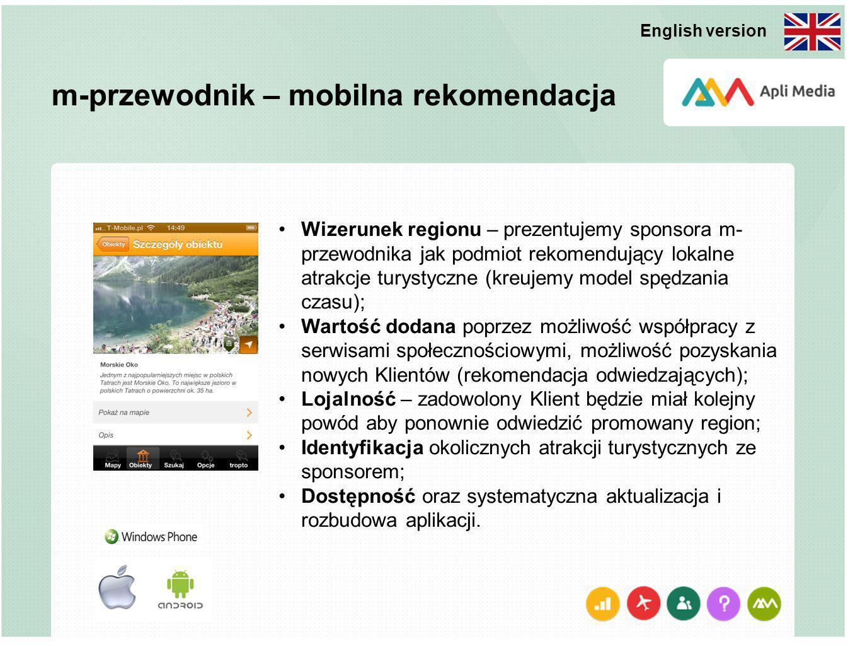 m-przewodnik – mobilna rekomendacja Wizerunek regionu – prezentujemy sponsora m- przewodnika jak podmiot rekomendujący lokalne atrakcje turystyczne (k