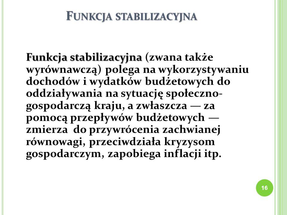 F UNKCJA STABILIZACYJNA Funkcja stabilizacyjna Funkcja stabilizacyjna (zwana także wyrównawczą) polega na wykorzystywaniu dochodów i wydatków budżetow