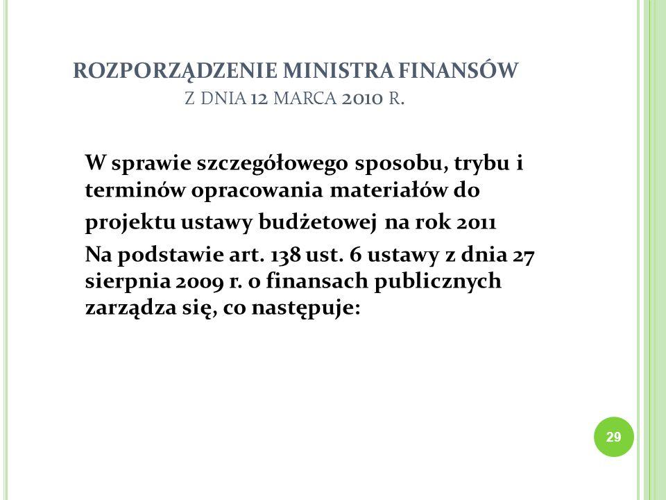 29 ROZPORZĄDZENIE MINISTRA FINANSÓW Z DNIA 12 MARCA 2010 R. W sprawie szczegółowego sposobu, trybu i terminów opracowania materiałów do projektu ustaw