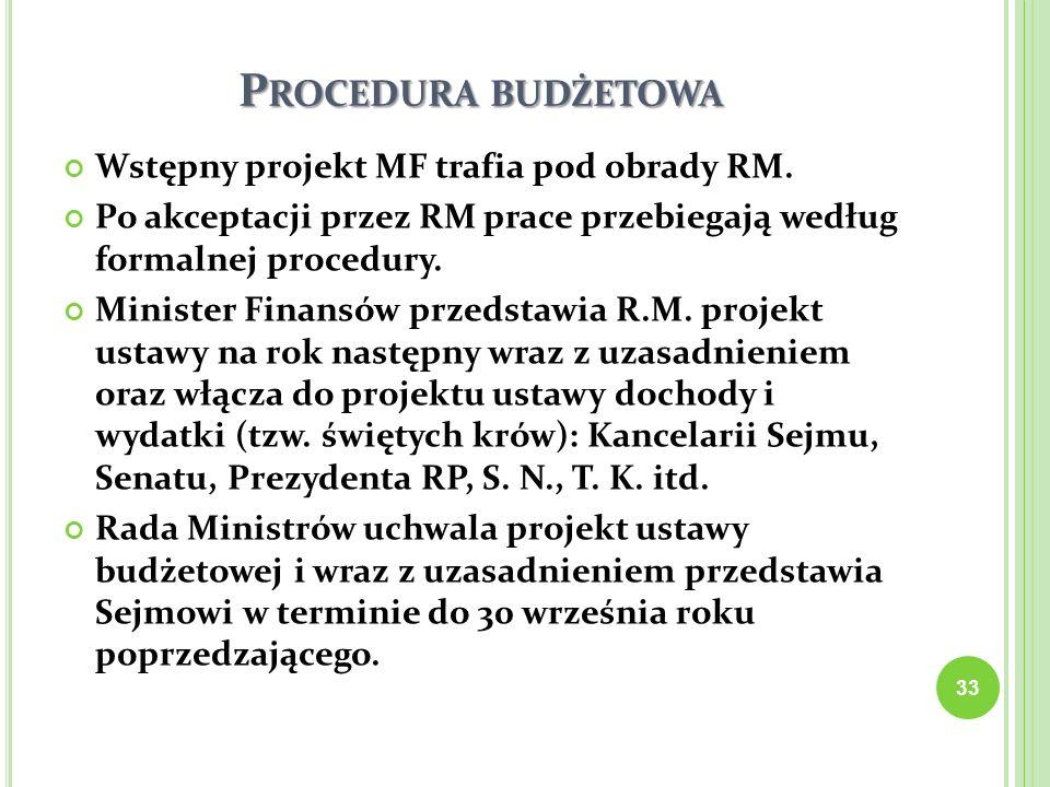 P ROCEDURA BUDŻETOWA Wstępny projekt MF trafia pod obrady RM. Po akceptacji przez RM prace przebiegają według formalnej procedury. Minister Finansów p