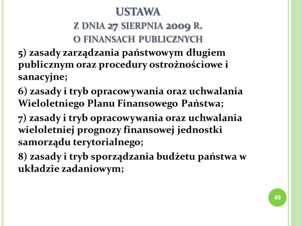 USTAWA Z DNIA 27 SIERPNIA 2009 R. O FINANSACH PUBLICZNYCH 5) zasady zarządzania państwowym długiem publicznym oraz procedury ostrożnościowe i sanacyjn