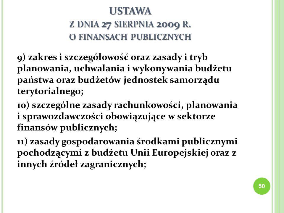 USTAWA Z DNIA 27 SIERPNIA 2009 R. O FINANSACH PUBLICZNYCH 9) zakres i szczegółowość oraz zasady i tryb planowania, uchwalania i wykonywania budżetu pa