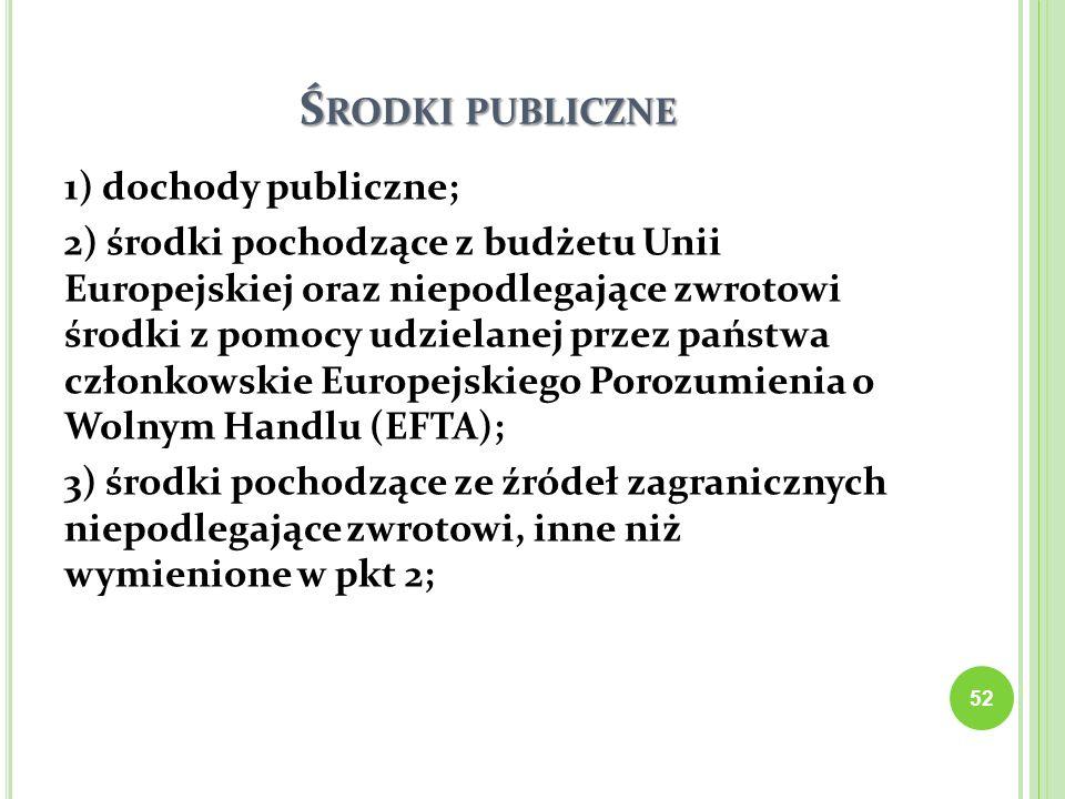 Ś RODKI PUBLICZNE 1) dochody publiczne; 2) środki pochodzące z budżetu Unii Europejskiej oraz niepodlegające zwrotowi środki z pomocy udzielanej przez