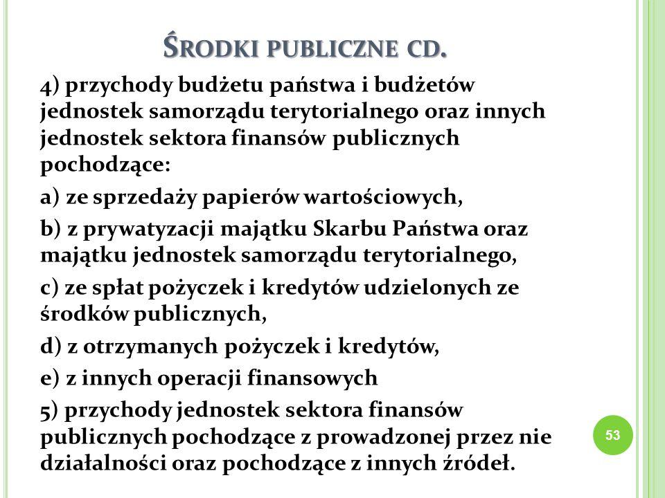 Ś RODKI PUBLICZNE CD. 4) przychody budżetu państwa i budżetów jednostek samorządu terytorialnego oraz innych jednostek sektora finansów publicznych po