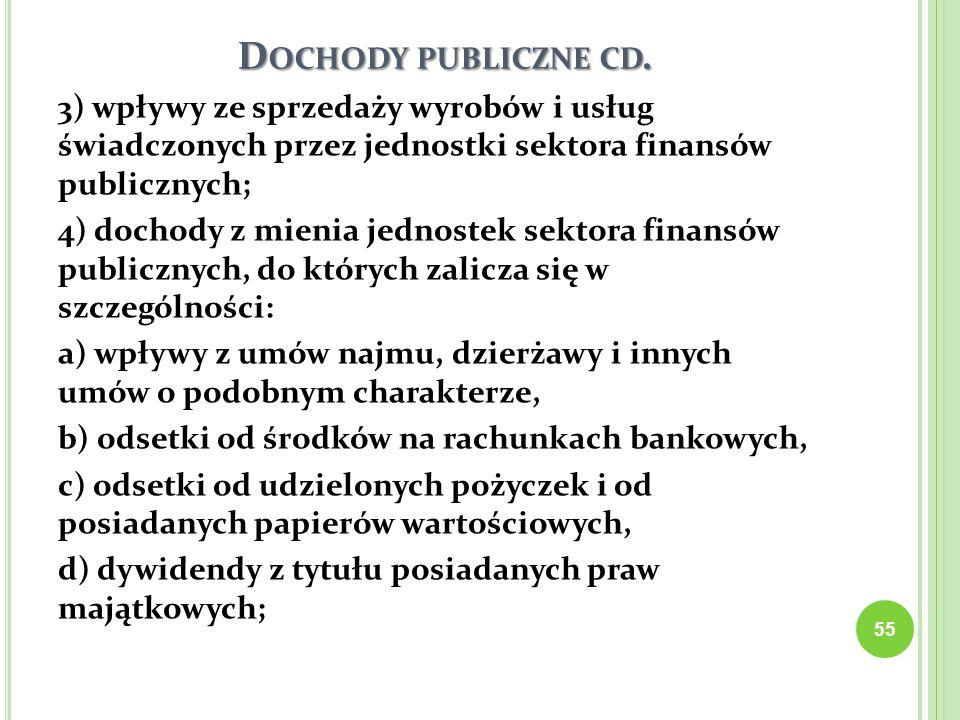 D OCHODY PUBLICZNE CD. 3) wpływy ze sprzedaży wyrobów i usług świadczonych przez jednostki sektora finansów publicznych; 4) dochody z mienia jednostek
