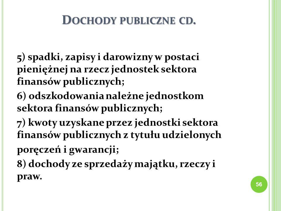 D OCHODY PUBLICZNE CD. 5) spadki, zapisy i darowizny w postaci pieniężnej na rzecz jednostek sektora finansów publicznych; 6) odszkodowania należne je