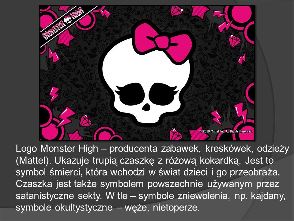 Logo Monster High – producenta zabawek, kreskówek, odzieży (Mattel). Ukazuje trupią czaszkę z różową kokardką. Jest to symbol śmierci, która wchodzi w