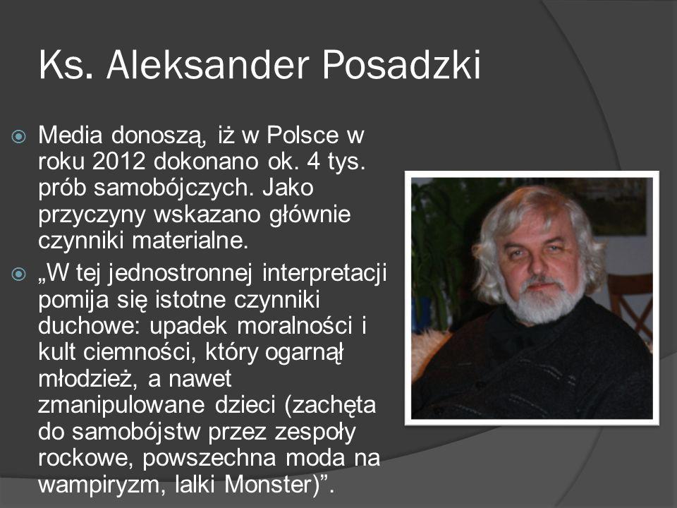 Ks. Aleksander Posadzki Media donoszą, iż w Polsce w roku 2012 dokonano ok. 4 tys. prób samobójczych. Jako przyczyny wskazano głównie czynniki materia