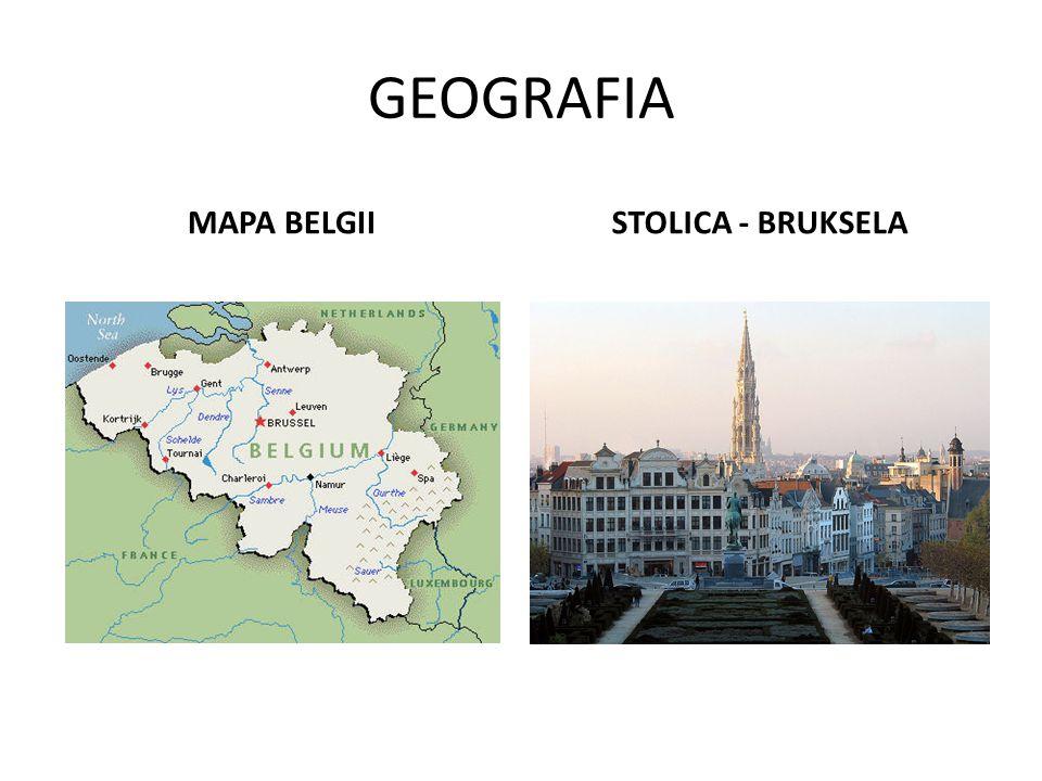 NAJWAŻNIEJSZE FAKTY Ludność: 10, 8 mln Grupy etniczne: - Flamandowie – 57%, - Walonowie – 33% Języki urzędowe: - niderlandzki - francuski - niemiecki Powierzchnia: 30,5 tys.
