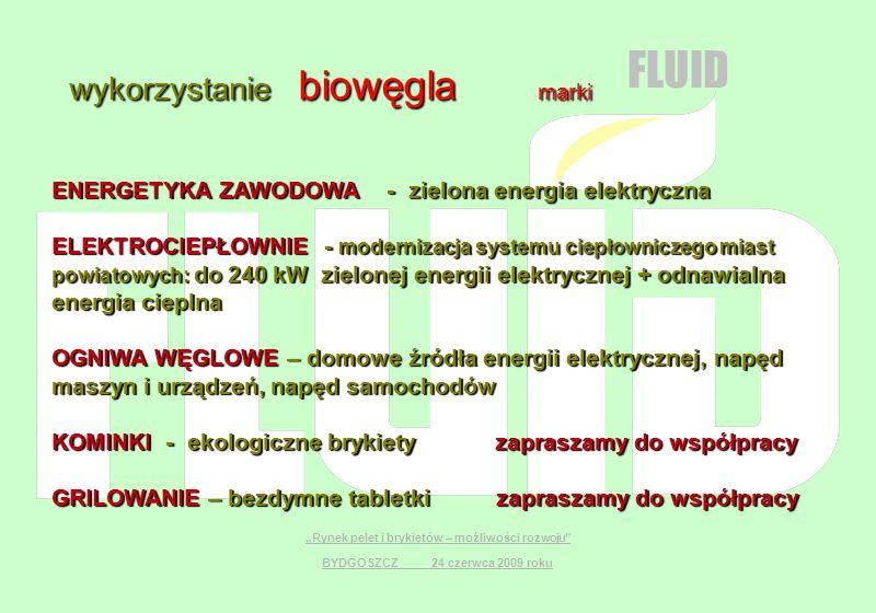 wykorzystanie biowęgla marki FLUID ENERGETYKA ZAWODOWA - zielona energia elektryczna ELEKTROCIEPŁOWNIE - modernizacja systemu ciepłowniczego miast pow