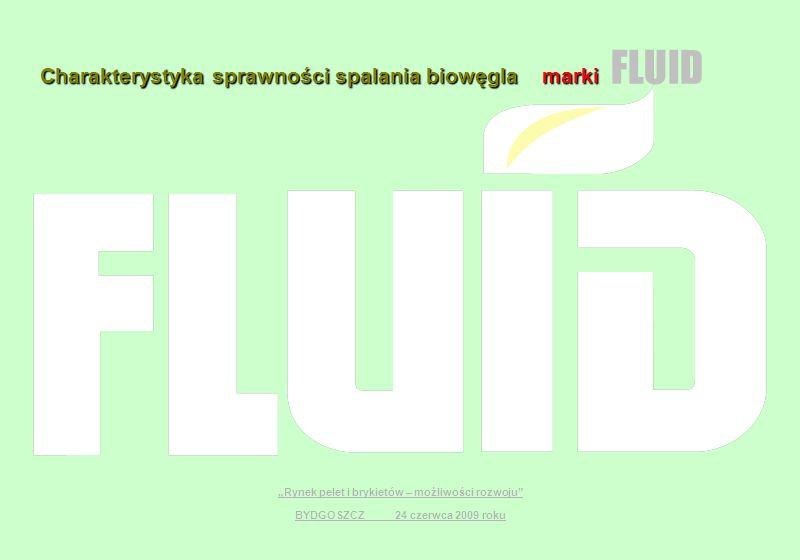 Charakterystyka sprawności spalania biowęgla marki FLUID Rynek pelet i brykietów – możliwości rozwoju BYDGOSZCZ 24 czerwca 2009 roku