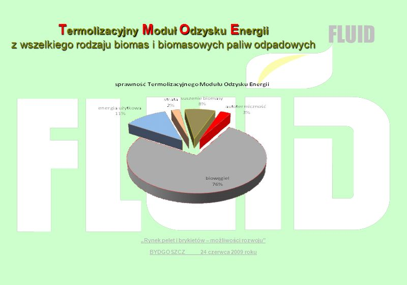 T ermolizacyjny M oduł O dzysku E nergii z wszelkiego rodzaju biomas i biomasowych paliw odpadowych Rynek pelet i brykietów – możliwości rozwoju BYDGO